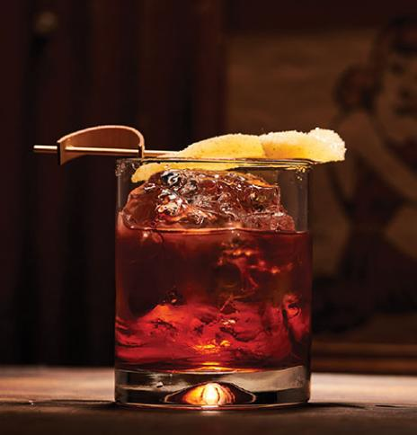Ginger negroni with spiced rum