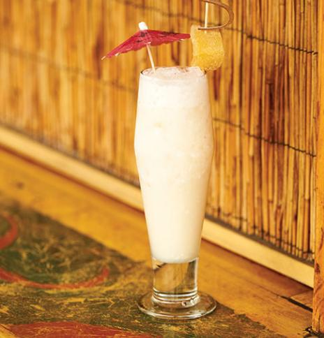 Ginger pina colada with spiced rum